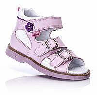 Детские босоножки на девочку розовые кожаные ортопедичесские каблук Томаса супинатор Tutubi  27,28,29