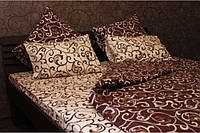 """Постельное белье на полуторную кровать. Постельное бязь. """"Шоколадная ночь"""""""