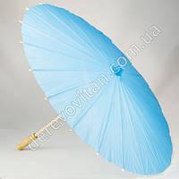 Китайский зонтик из бумаги, голубой, d56 см