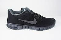 Мужские беговые кроссовки NIKE Free Run  3.0, сетка, черные, Р. 42