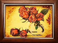 Картина из янтаря Красные розы (Картины и иконы из янтаря)
