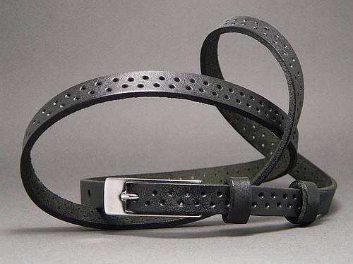 Женский ремень пояс кожаный «Дуэт» Svetlana Zubko ДхШ: 120х1,5 см. чёрный 2F15126
