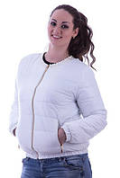 Красивая женская куртка плащевка утеплитель синтепон короткая с бусинами на молнии батал