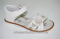 Детские кожаные босоножки (сандалии) little deer 6031  для девочек белые