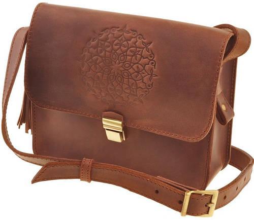 Практичная женская бохо-сумка из натуральной кожи BlankNote Лилу BN-BAG-3-ko-man коньяк