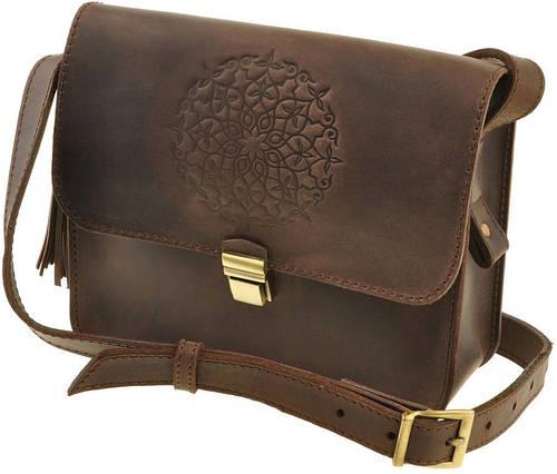 Женская удобная мини-сумка из натуральной кожи BlankNote Лилу BN-BAG-3-o-man орех