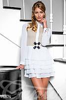 Женское платье с короткой юбкой плиссе и рубашечным воротником рукав длинный креп-шифон трикотаж-стрейч