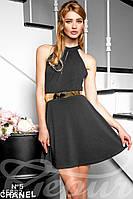 Классическое вечернее женское платье-клеш под пояс с оголенными плечами с вырезом на спине креп-дайвинг