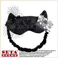 """Маска, повязка для сна """"Чёрная кошка"""" чёрной сеточкой"""