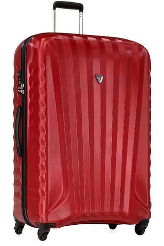 Большой надежный пластиковый чемодан 100 л. Roncato UNO ZIP SPOT 5081/01/69 рубиновый