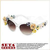 "Очки ""Flowers"" с цветами (как Dolce & Gabbana) белые"