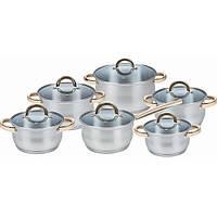 Набор кухонной посуды из нержавеющей стали 12 предметов (5 кастрюль, 1 ковш) Maestro MR-2106
