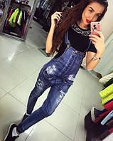 Женская стильный джинсовый комбинезон