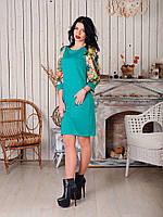 Молодежное платье с красивыми рукавами в цветочный принт