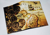 Обложка на паспорт Золотые монеты (натур. кожа)