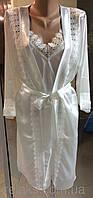 Комплект ночная сорочка и халат атласный Jasmin белый,размер L