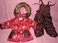 Детский зимний термокомбинезон Зимушка р.80 девочкам бордовый бабочки до -30 мороза