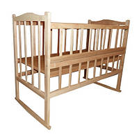 Кровать КФ с фигурной спинкой, откидным боком, качалкой и колесами