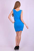 Стильное молодёжное голубое платье короткий рукав Арт.-5100/43