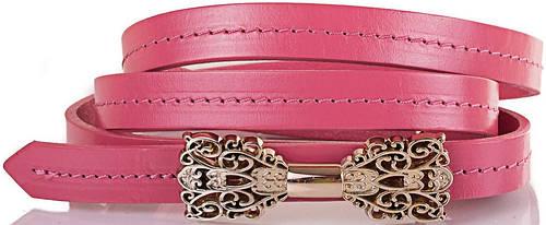 Женский узкий яркий кожаный ремень ETERNO (ЭТЕРНО) ETS2116-11, розовый