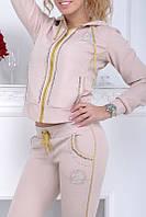 Батальный гламурный спортивный костюм женский Турция однотоный на змейке бежевый 50 52 54 56