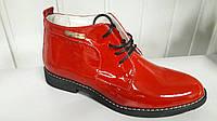 Женские кожаные красные ботиночки на шнурках.Украина.