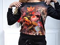 Спортивный костюм женский Турция с цветочным принтом 2-ка чёрный  однотоные брюки  батал