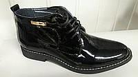 Женские кожаные черные ботиночки на шнурках.Украина.