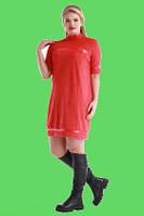 Платье из Искусственной Замши с Вставками из Эко Кожи Красное р. 48-54