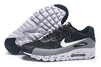 Кроссовки мужские Nike Air Max 90 MD Flyknit Black Grey (найк аир макс 90, оригинал) серые