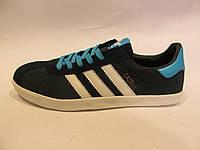 Кроссовки мужские Adidas Gazelle синие с белым, замшевые (адидас газели)р.44