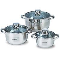 Набор кухонной посуды из нержавеющей стали 6 предметов (3 кастрюли с крышками) Maestro MR-2220-6L