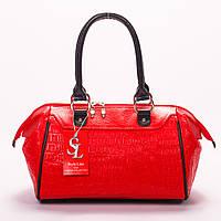 Красная сумка-саквояж под кожу крокодила