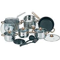 Набор кухонной посуды из нержавеющей стали 17 предметов (4 кастр,1 ковш, 1 сков, принадл.) Maestro MR-2506