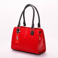 Красная сумка-портфель женская деловая наплечная