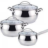 Набор кухонной посуды из нержавеющей стали 6 предметов (2 кастрюли, 1 ковш) Maestro MR-3501-6