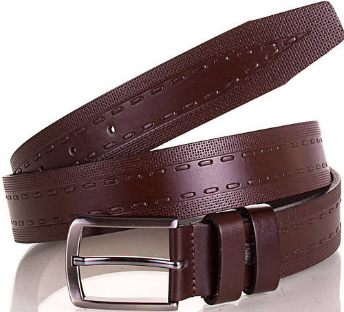 Мужской качественный стильный ремень из натуральной кожи Y.S.K. (УАЙ ЭС КЕЙ) SHI3044-10 коричневый