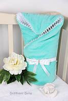 Конверт-одеяло на выписку Lari Велюр весна Бирюза