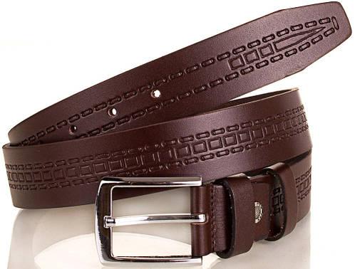 Практичный мужской кожаный ремень Y.S.K. (УАЙ ЭС КЕЙ) SHI3037-10 коричневый