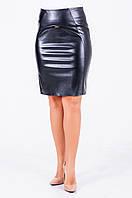 Женская юбка из эко-кожи черного цвета, Ребекка