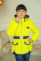 Весенняя курточка для  девочки  ''Замочки'', желтая