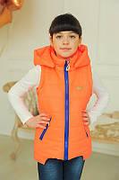 Жилетка для девочки весна ''УШКИ'', оранжевая