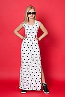 Женское платье № 918-1 (Б.О.Д.) размеры:42,44,46,48 молочный с сердечками
