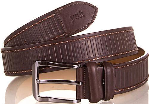 Стильный мужской кожаный ремень Y.S.K. (УАЙ ЭС КЕЙ) SHI4085-10 коричневый
