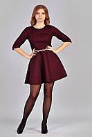 Элегантное платье из гипюра  цвета марсала