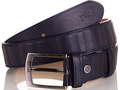 Солидный мужской кожаный ремень Y.S.K. (УАЙ ЭС КЕЙ) SHI4041-6 синий