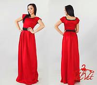 Женское платье в пол креп дайвинг с короткими рукавами