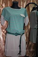 Платье бежевое в зеленую полоску, с поясом р.36, 40, 42. Цена розн: 359.00 грн.  Цена опт: 264.00 платья оптом