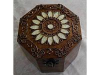Шкатулка деревянная восьмигранная с медной отделкой 172038 ТМ Дерево
