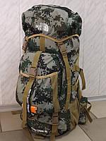 Большой камуфляжный туристический рюкзак на каркасе THE NORTH FACE темный пиксель 60 литров